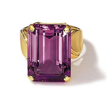 14kt. Emerald-Cut Amethyst Ring (Size 5.5)