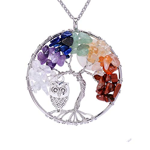 Silver Plated Wire Wrapped Crystal Copper Tree of Life Pendant Necklace for Girls Handmade Healing Chakra Natural Tumbled Semi Precious Stone Cute Owl Full Moon Gemstone Pendant Necklace Jewelry
