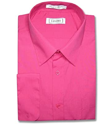 Men's Solid Hot Pink Fuchsia Color Dress Shirt w/ Convertible ...
