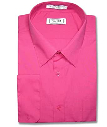 Men 39 S Solid Hot Pink Fuchsia Dress Shirt W Convertible