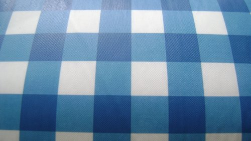 Blue White Checked 60 Round Vinyl Peva Tablecloth Indoor Outdoor