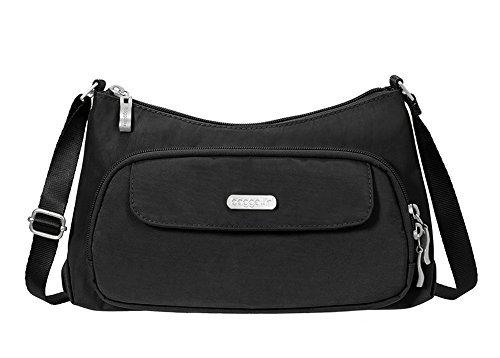 Baggallini Everyday Crossbody Bagg- Solid Nylon Crinkle,Black,One Size by Baggallini