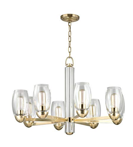 - Pamelia 8-Light Chandelier - Aged Brass Finish with Clear Glass Shade