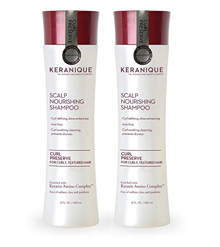 Keranique Curl Preserve | Scalp Nourishing Shampoo for Curly, Textured Hair - Sulfate Free, Paraben Free, Anti Breakage, Mild Formula 8 fl oz. (2 Pack) - Anti Breakage Formula
