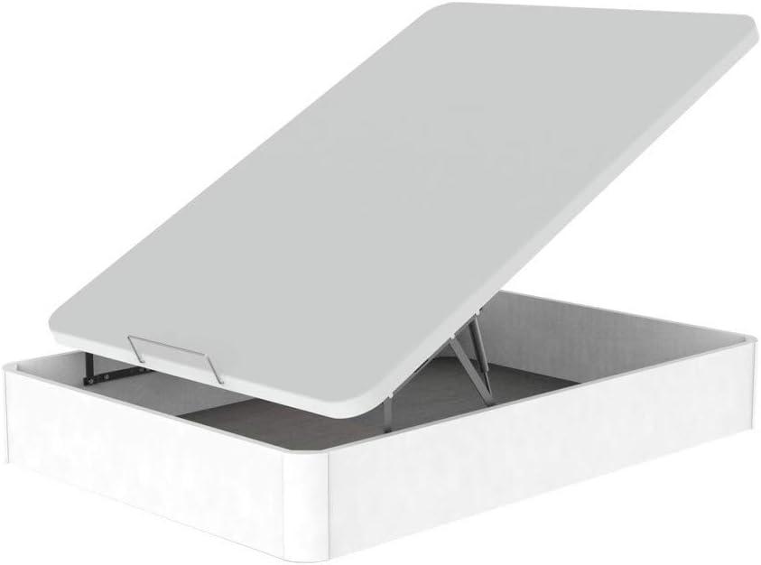 Canap/é Madera Eco Gran Capacidad CAJ/ÓN Madera Blanco- Tapa 3D Blanco TOPDORMITORIOS 90 x 180 cm.