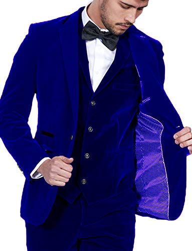 Royal Blue Velvet Suit Coat for Men Slim Prom Tux Stylish Blazers for Teens