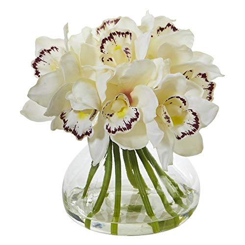Nearly Natural 1912-WH Cymbidium Orchid Artificial Glass Vase Silk Arrangements, ()