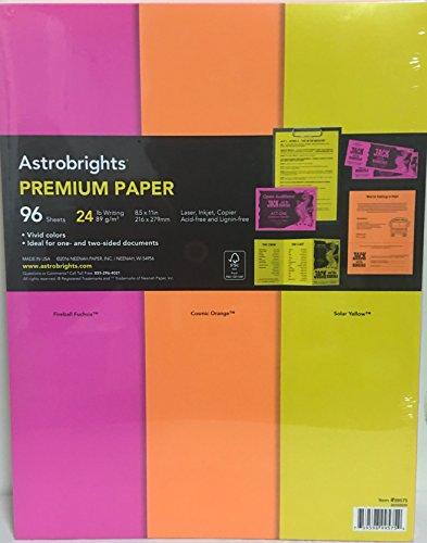 Astrobrights Premium Paper 24 Lb  11 X 8 5  3 Vivid Colors Include Fireball Fuchsia  Cosmic Orange And Solar Yellow  96 Sheets  1 Pack