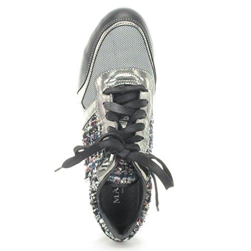 MARIPE 21156-120945 Sneaker mit markanter Gummisohle - Lederkombination silber/schwarz - made in Italy Multicolor