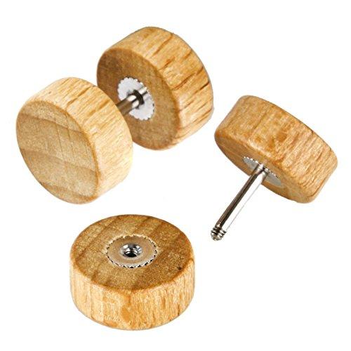 4ceffe8c6 JewelrieShop Natural Wood Screw Studs Earrings for Men Women Fake Gauges  Illusion Ear Piercing Ear Plugs