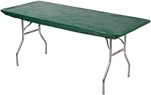 "Kwik-Covers 6' Rectangle Plastic Table Covers 30"" x 72"", Bundle of 5 (Hunter Green)"