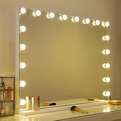 WAYKING Vanity MirrorLights Hollywood Lighted Makeup Mirror3 Color Lighting Modes Touch Sensor and USB Port Tabletop or Wall-Mounted Mirror L31.4 X H23.6 inch