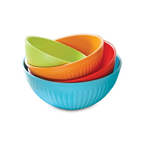 Nordic Ware 4-Piece Prep N Serve Mixing Bowl Set, (Nesting Mixing Bowl Set)