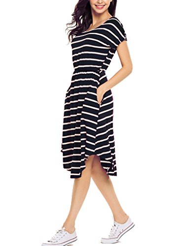 Qearal Women Summer Short Sleeve Striped Loose Swing T-Shirt Midi Dress with Pockets (Black, M) (Striped Scoop Neck Pocket Dress)