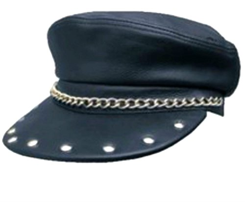 (Genuine Leather Biker Captain Cap with Chain and Studded Sun)