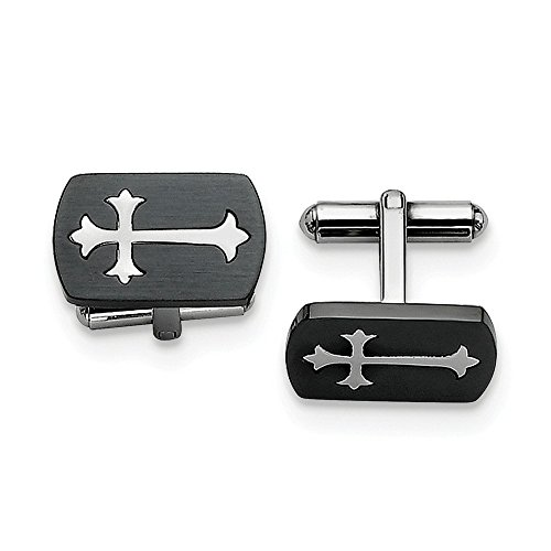 Red Irish Bar Stools - ICE CARATS Stainless Steel Brushed Black Plated Cross Religious Cufflinks Man Cuff Link Fashion Jewelry Gift for Dad Mens for Him