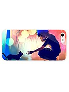 iPhone 5&5S Case - Anime - Boy Helping A Cat In The Rain 3D Full Wrap
