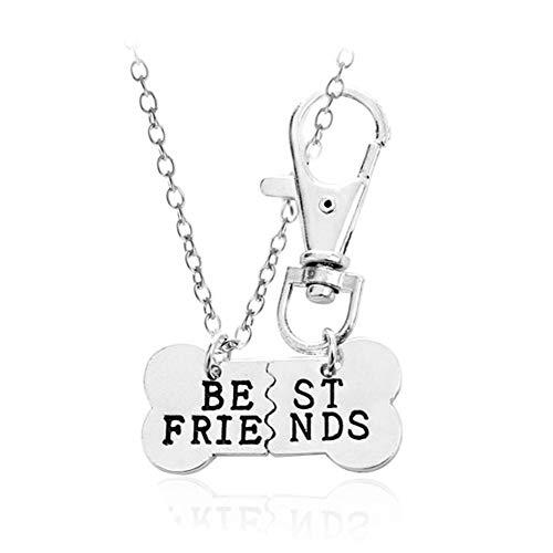 (2pcs Friendship Jewelry Dog Bone Best Friends Charm Necklace Keychain BFF Bones Design (silver tone)
