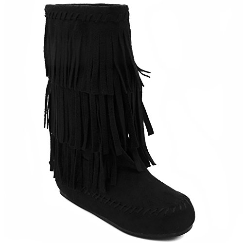 Rampage Kids Brooklynn Girls Cold Weather Mid Calf Slip On Winter Boot with Fringe 2 Black