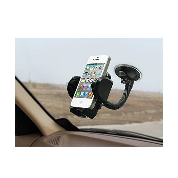 LotFancy Cell Phone Holder Mobile Phone Car Mount 360 Rotation Windshield Dashboard Cradle For GPS IPhone X 8 7 7Plus 6 6Plus 5S 5 5C Samsung Galaxy S7 Edge 6S Smartphones