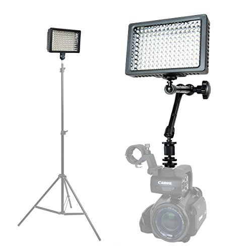 Foto&Tech Professional 160 LED Dimmable Ultra High Power Panel Video Light for All Cameras Camcorders 4K Video Photo Shoot weddings Easy Mount + 11'' Adjustable Magic Arm + 3 Filters + Carry Case by Foto&Tech