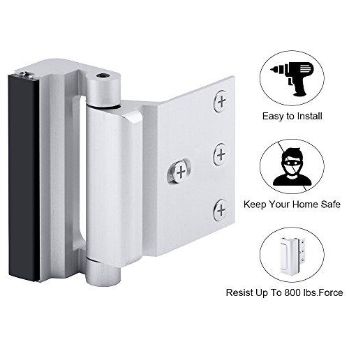 Home Security Door Lock, Childproof Door Reinforcement Lock with 3'' Stop 4 Screws Withstand 800 lbs for Inward Swinging Door, Upgrade Night Lock to Defend Your Home by EVERPLUS by EverPlus