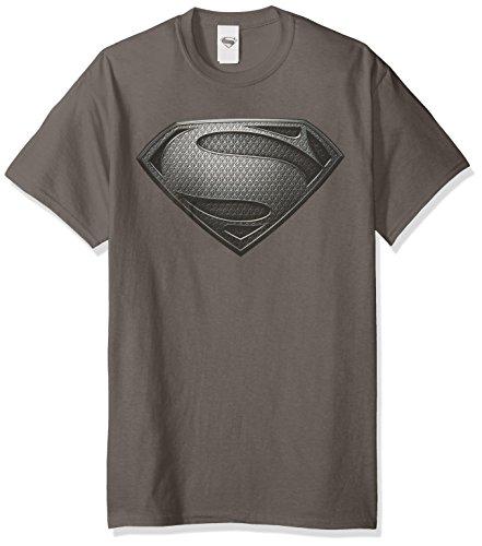 Trevco Men's Superman Man of Steel Desaturated T-Shirt, Charcoal, Medium ()