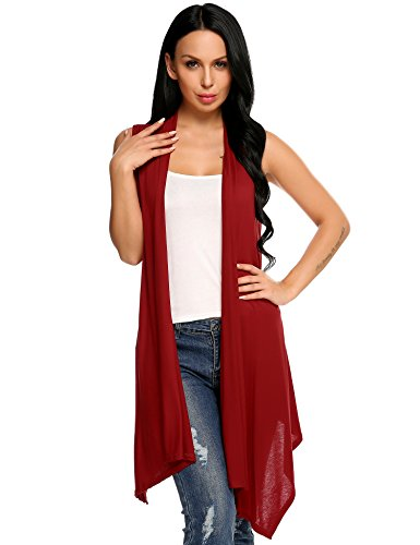 Beyove Women's Asymetric Hem Sleeveless Open Front Drape Cardigan Sweater Vest Wine Red S by Beyove