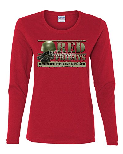 Red Fridays Remember Everyone Deployed Women's Long Sleeve Tee Support US Troops Red S
