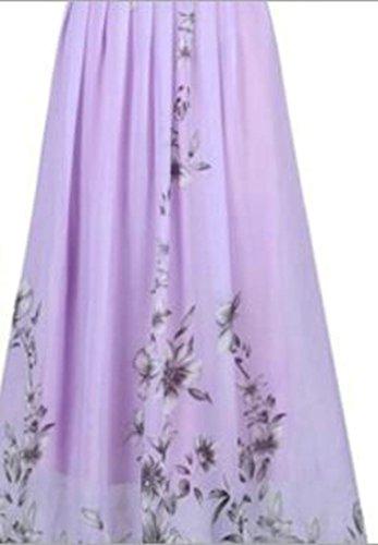 Cromoncent Femmes Licol Confortable Ceinture Empire À Taille Maxi Robe Violet Imprimé