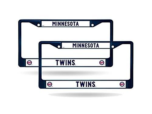Rico Minnesota Twins Blue Painted Chrome Metal (2) License Plate Frame Set
