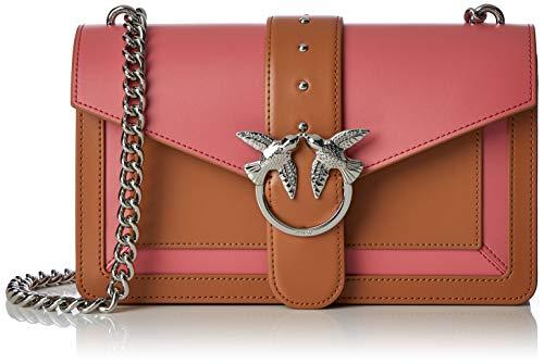 Pinko Love Evolution Tracolla Vitello Seta, Women's Shoulder Bag, Multicolour (Cuoio/Corallo), 7x17x27 cm (W x H L)