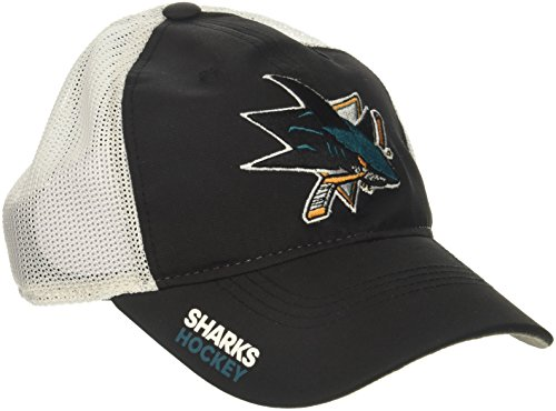 fan products of NHL San Jose Sharks Adult Men Pro Authentic Meshback Slouch Flex, Large/X-Large, Black