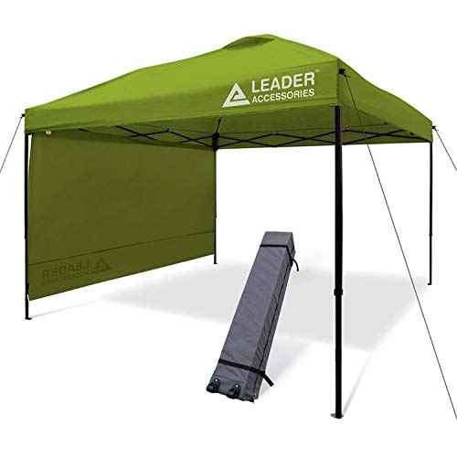 Leader Accessories 10' x 10' Pop Up Canopy Tent Instant Shelter Portable Folding Canopies Straight Leg with 1-Pack Side Wall & Wheeled Carry Bag, Green