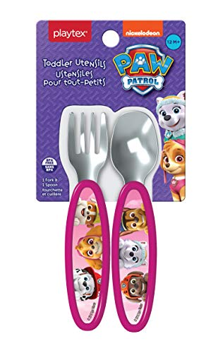 Playtex Mealtime Paw Patrol Utensils for Girls Including 1 Spoon and 1 Fork