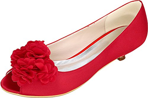 Heel 01h Bride Satin Dress Work Comfort 37 Party 0700 Peep Fashion Eu Red Low Toe Prom Ladies Smart Sandals Wedding Bridesmaid Flower anXqdT