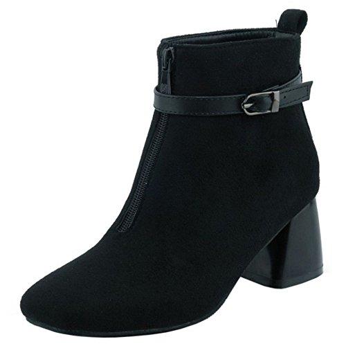 COOLCEPT Mujer Moda Ankle Botas Cremallera With Belt Hebilla Black