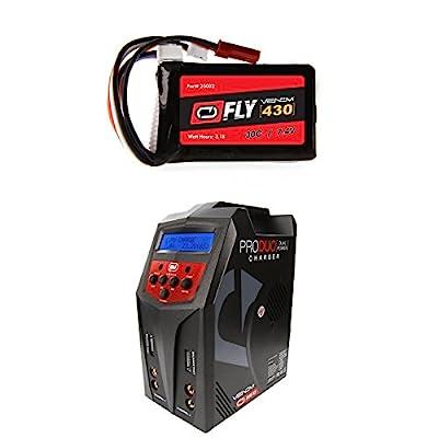 Venom Fly 30C 2S 430mAh 7.4V LiPo Battery with JST and E-flite PH Plug and Venom Pro Duo 80W X2 Dual AC/DC 7A LiPo & NiMH RC Battery Balance Charger Money Saving Combo