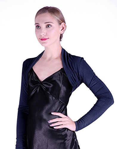 Navy Bolero - HDE Women's Bolero Long Sleeve Cardigan Shrug (Navy Blue, Medium)