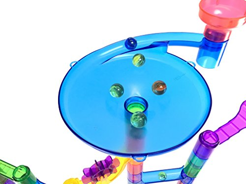 Marble Genius Marble Run Super Set - 100 Complete Pieces + Free Instruction App (85 Translucent Marbulous Pieces + 15 Glass Marbles)