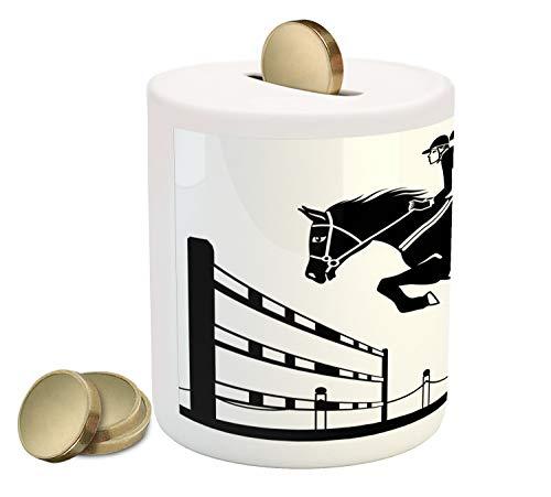 Bank Piggy Horse - Ambesonne Cartoon Piggy Bank, Racing Horse with a Jockey Girl Jumping Above Barrier Barn Farming Print, Printed Ceramic Coin Bank Money Box for Cash Saving, White Charcoal Grey