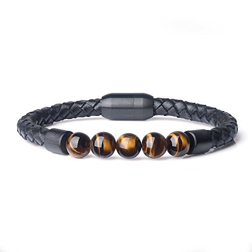 Tigers Leather (AmorWing Magnetic Clasp Leather Tiger Eye Chakra Stone Mala Beads Bracelet 8