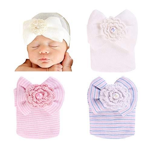 BIQUBO 3 Pack Infant Baby Hat Cap Newborn Hospital Hat, Pink, Wihte, Blue Stripe -