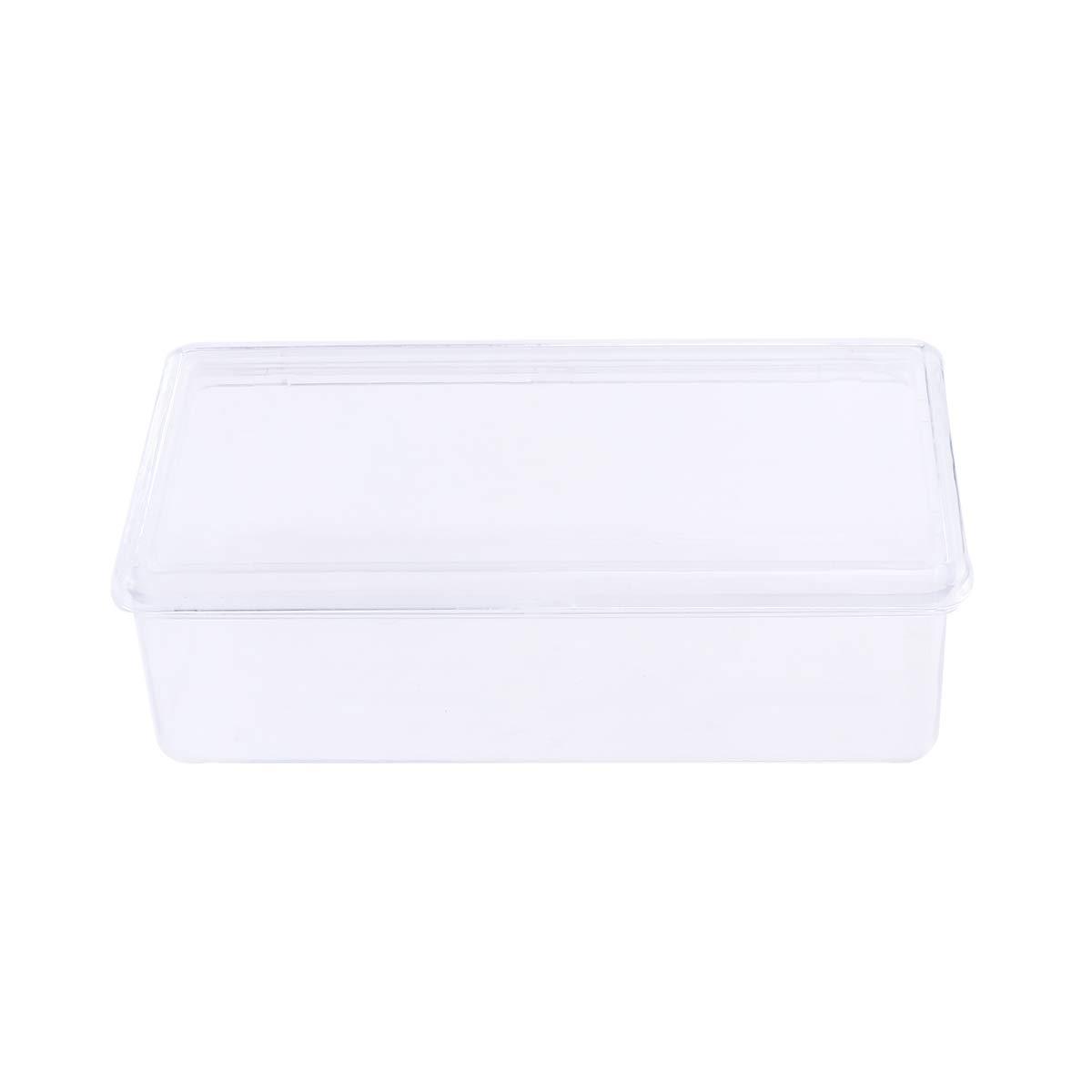 OUNONA 9 x 18cm Aufbewahrungsbox mit Deckel Rechteck Transparent Küche Kühlschrank Organizer