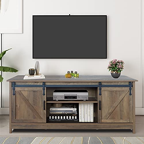 GHQME 64″ Furniture Company Farmhouse Barn Wood Universal TV Stand ,Living Room Storage Cabinet Doors and Shelves Entertainment Center (Yellow)