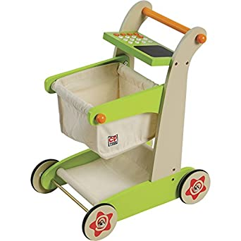 Constructive Playthings Sng 24 Cp Toys Kid Sized Wooden Shopping Cart For Pretend Play