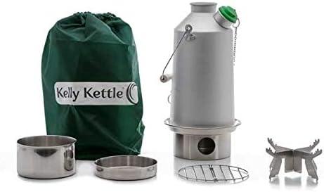 Kelly Kettle® Base Camp – Kit completo de hervidor de aluminio + acero Cook Set + soporte de acero para camping) Sartén de madera ultrarrápida y ...