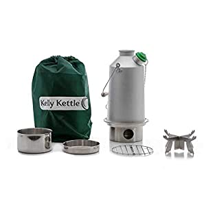 'Base Camp' Kelly Kettle® – BASIC KIT (1.6ltr Aluminium Kettle + Steel Cook Set + Steel pot support + Green Whistle) NOW WITH UPGRADED STAINLESS STEEL FIRE-BASE. Camping Kettle and Camp Stove in one. Ultra fast lightweight wood fuelled stove. NO Batteries, NO Gas, NO Fuel costs! For fishing, hunting, camping, scouts, etc. Weight 1.43kg / 3.13lb