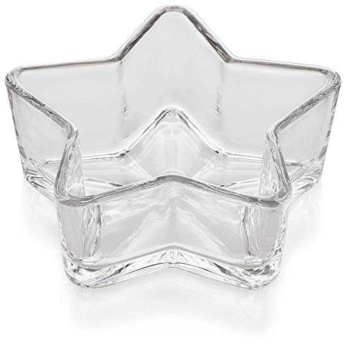Lauryn Janae Premium Multipurpose STAR Shaped Glass Snack, Candy Bowl, Serving Dish or Candle Holders (Set of 2) -