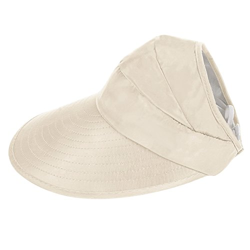 CHENYUE Sun Hat with Leaf Print Summer Beach Visor Cap UV Protection Wide Brim Solid Color Foldable and Adjustable Hat for Women (Beige) ()